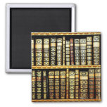 Antique Vintage Leather books Pattern 2 Inch Square Magnet