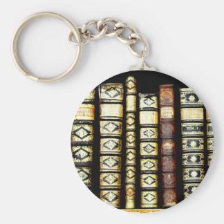 Antique Vintage Leather books Pattern Basic Round Button Keychain