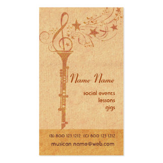 Antique Vintage Look Musical Music Clarinet Band Double-Sided Standard Business Cards (Pack Of 100)