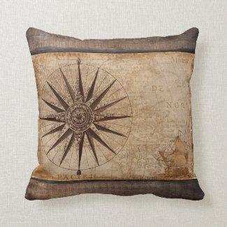 Antique Vintage Map Compass Ship Nautical Distress Throw Pillow