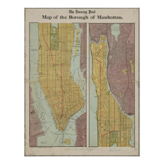 Antique Vintage Map of Manhattan New York Poster