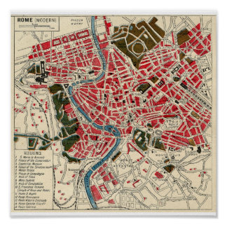 Antique Vintage Map of Rome Poster