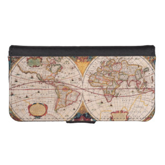 Antique Vintage Map of the Known World Circa 1630 Phone Wallet