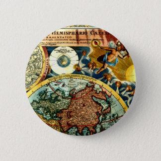 Antique Vintage Map World Globe Historical Art Button