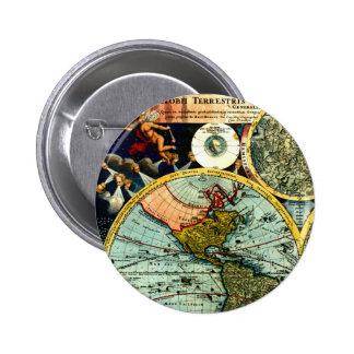 Antique Vintage Map World Globe Historical Art Pinback Button