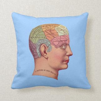 Antique Vintage Mind Brain Map Phrenology head Throw Pillow