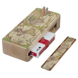 Antique Vintage Old World Map Design Maple Cribbage Board