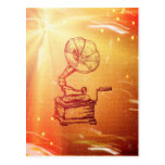 Antique Vintage Phonograph. Retro Old Gramophone Postcard