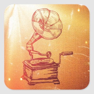 Antique Vintage Phonograph. Retro Old Gramophone Square Sticker