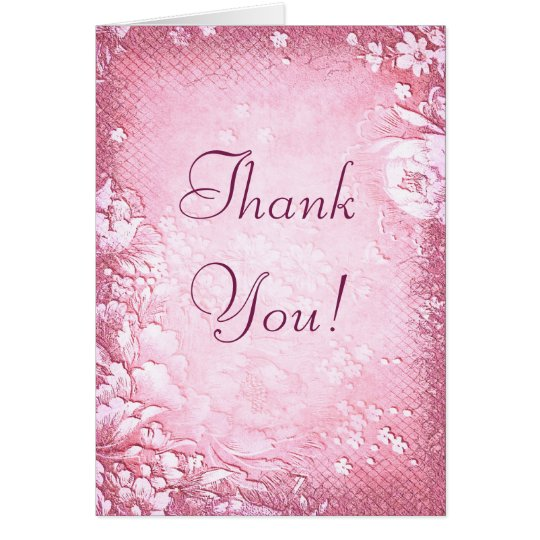 Antique Vintage Pink Floral Wedding Thank You Card