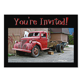 Antique Vintage Red Truck  You're Invited! Card
