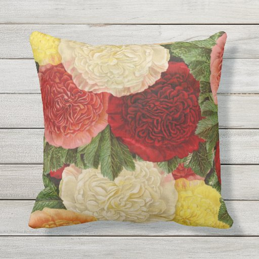 Antique Vintage Red White Pink Yellow Roses Outdoor Pillow