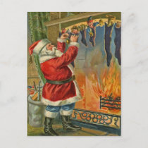 Antique, Vintage-Santa Christmas Postcard