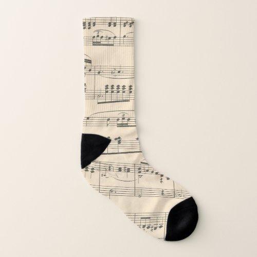 Antique Vintage Sheet Music Socks