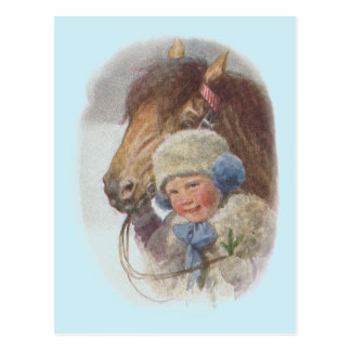Antique Vintage The Winter Pony Horse Postcard