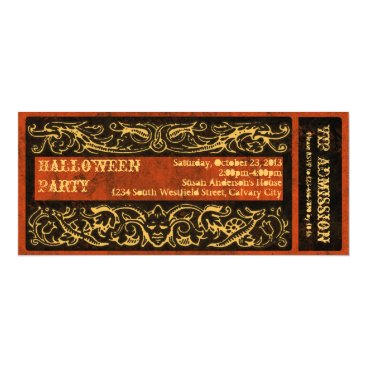 CustomInvites Antique Vintage Ticket Halloween Party Card