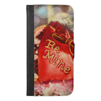 Antique Vintage Valentine Heart in Red Be Mine iPhone 6/6s Plus Wallet Case