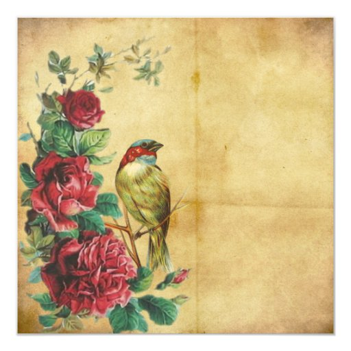 Antique Vintage Victorian Red Roses Stationary Card