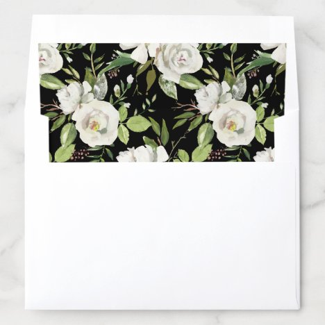 Antique Vintage Watercolor White Floral Black Envelope Liner