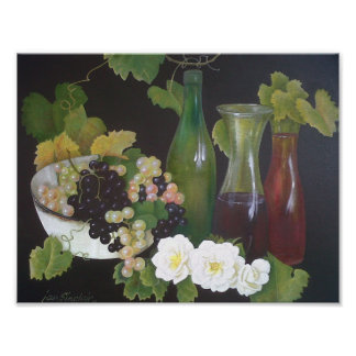Antique Vintage Wine Oil On Canvas Painting Poster