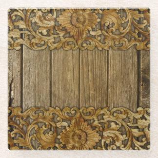 antique,vintage,wood,floral,carved,pattern,chic, glass coaster