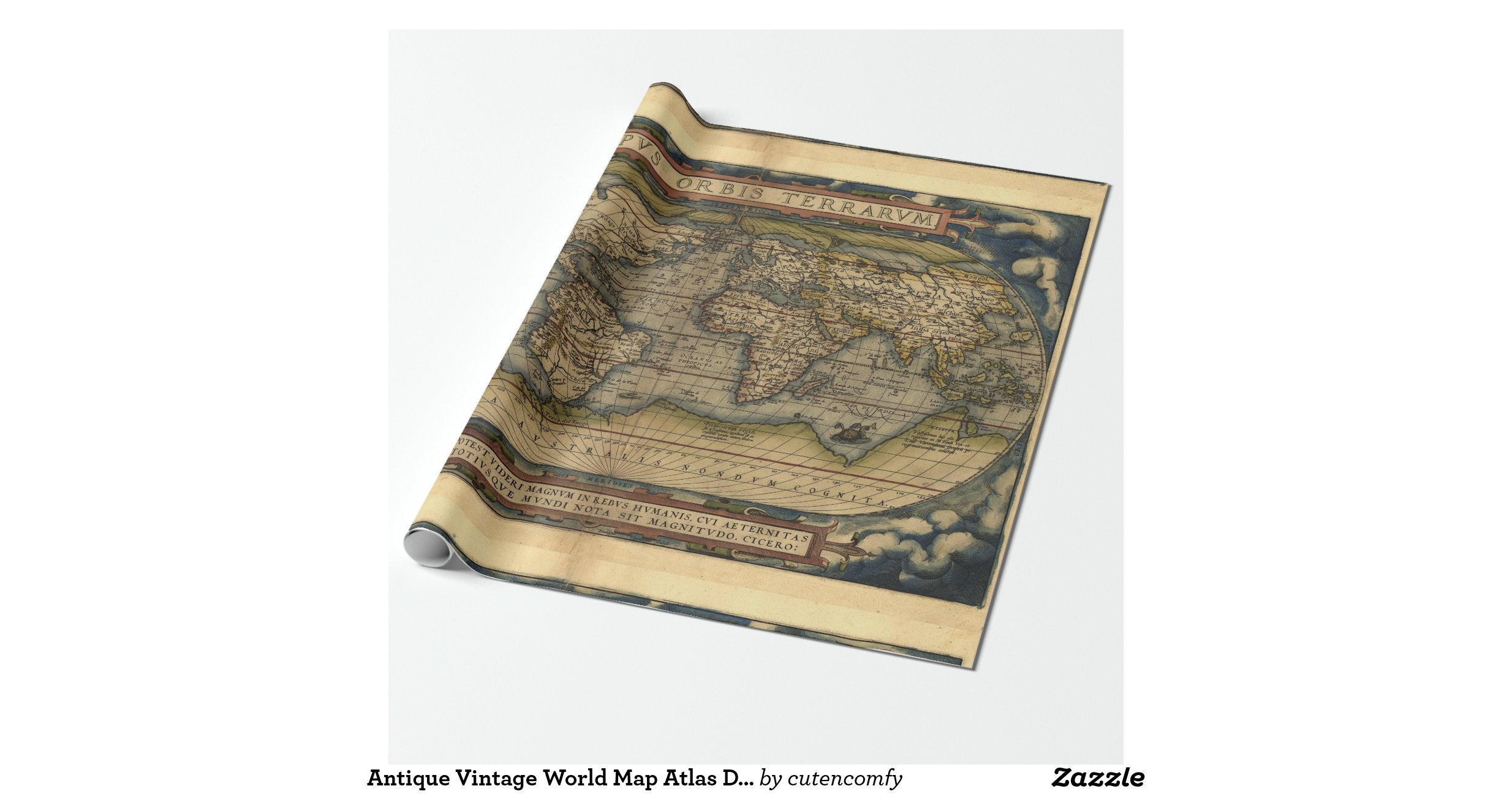 Antique vintage world map atlas decorative roll gift for Decorative paper rolls