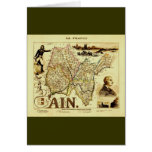 Antique Vuillemin 19th Century Map of France Ain Greeting Card