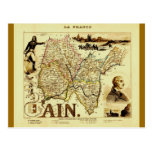 Antique Vuillemin 19th Century Map of France Ain Post Cards