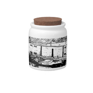 Antique Wagon in Pen and Ink Drawing Candy Jar