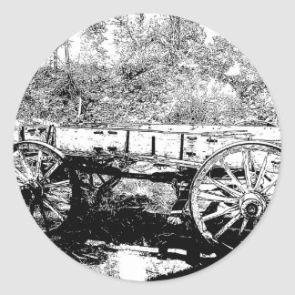 Antique Wagon in Pen and Ink Drawing Classic Round Sticker