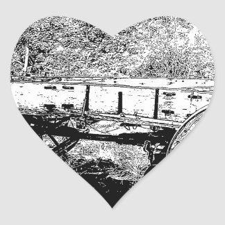 Antique Wagon in Pen and Ink Drawing Heart Sticker