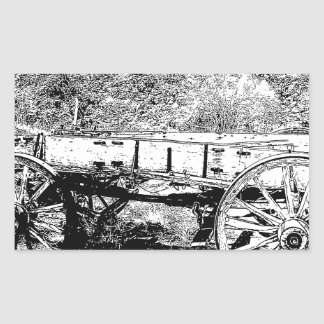Antique Wagon in Pen and Ink Drawing Rectangular Sticker