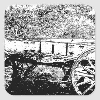 Antique Wagon in Pen and Ink Drawing Square Sticker