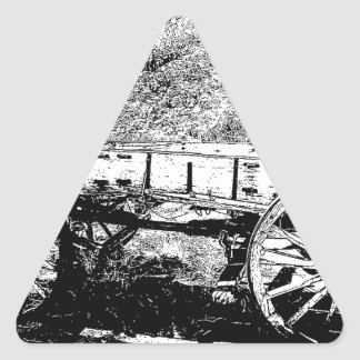 Antique Wagon in Pen and Ink Drawing Triangle Sticker
