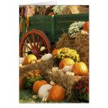 Antique Wagon & Pumpkin Autumn Display Greeting Card