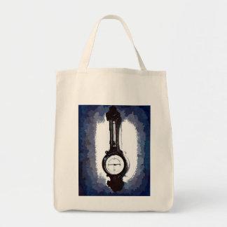 Antique Wall Barometer Pop Art Blue Print Bags
