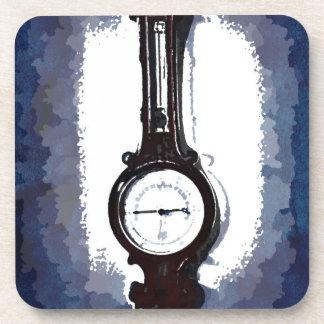Antique Wall Barometer Pop Art Blue Print Beverage Coaster