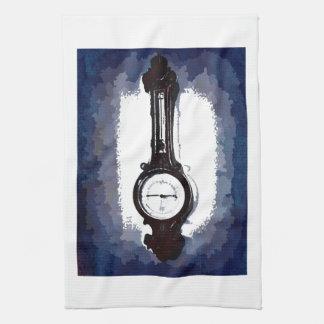 Antique Wall Barometer Pop Art Blue Print Towel