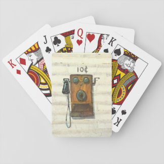 antique wall phone playing cards