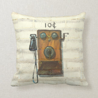 antique wall phone throw pillow
