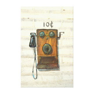 antique wall phone wrapped canvas gallery wrap canvas