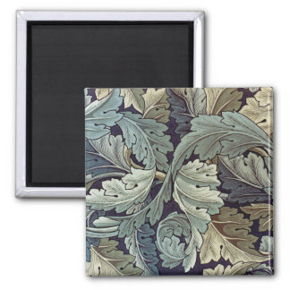 Antique wallpaper leaves 2 inch square magnet