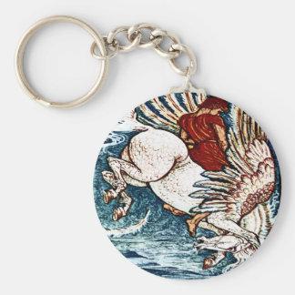 Antique Walter Crane Print Bellerophon on Pegasus Keychain