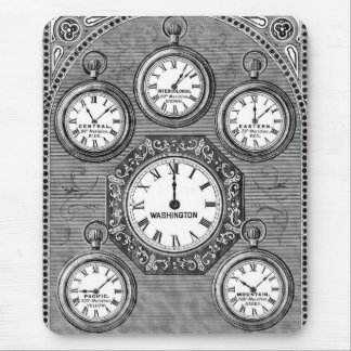 Antique Watch Clock Time Zones Mouse Pad