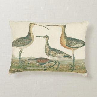 Antique Water Birds Marsh Illustration Accent Pillow