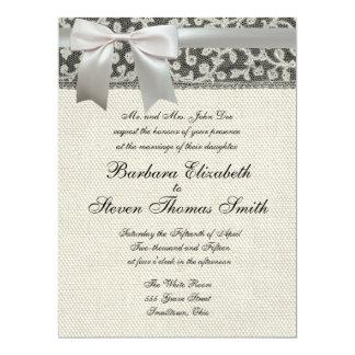 Antique wedding invitation lace linen rustic