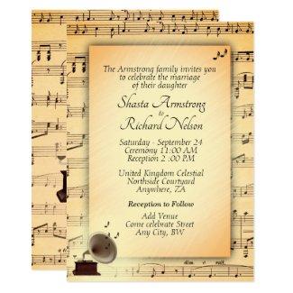 Antique Wedding Music Theme Invitation