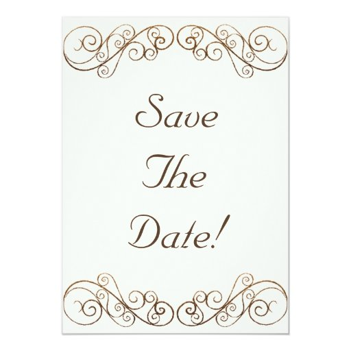 "Antique Wedding Save The Date 5"" X 7"" Invitation Card"