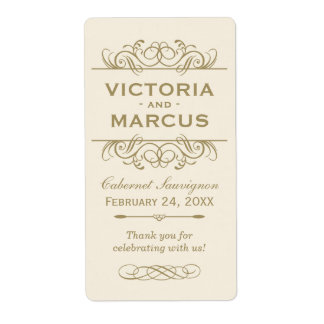 Antique Wedding Wine Bottle Monogram Favor Labels