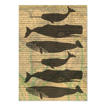 Beach Themed Antique Whale Rustic Art Nautical Magnetic Card